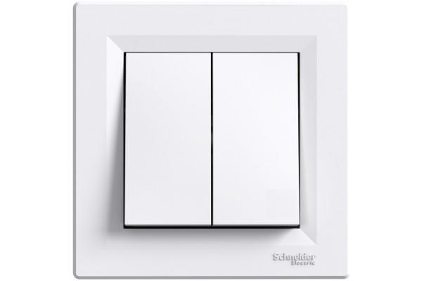 Вимикач двохклавішний, Білий, Asfora EPH0300121