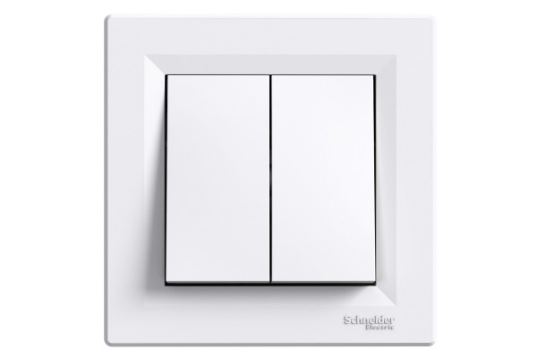 Вимикач прохідний двохклавішний, Білий, Asfora EPH0600121