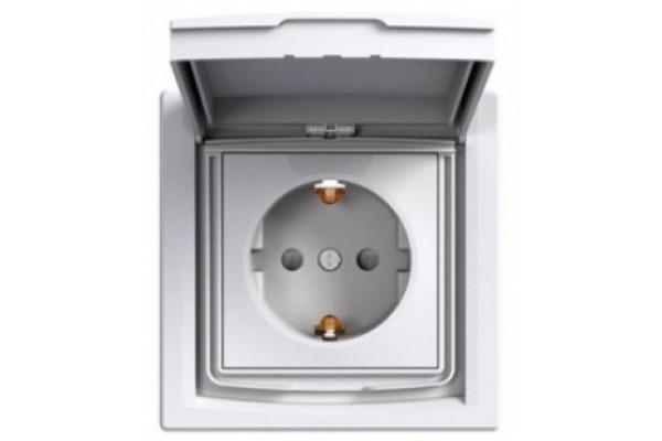 Розетка з заземленням, з кришкою та шторками, IP44, Біла, Asfora EPH3100321