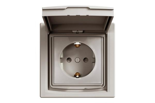 Розетка з заземленням, з кришкою та шторками, IP44, Бронза, Asfora, EPH3100369