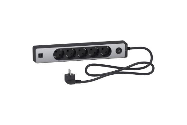 Подовжувач на 5 розеток + 2хUSB 2.4А, кабель 1,5 метри, чорний+алюміній, Schneider Electric ST945U1BA