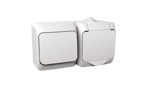 Розетка з заземлюючим контактом + вимикач одноклавішний, Біла, Cedar Plus WDE000500