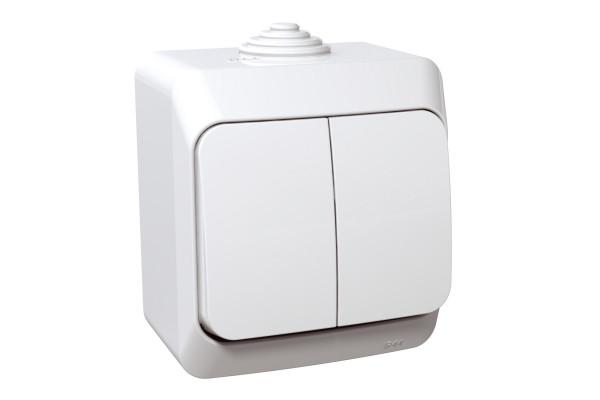 Вимикач двохклавішний, Білий, Cedar Plus WDE000550