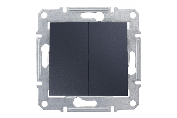 Двохклавішний вимикач 10А-250В Графіт, Sedna SDN0300170