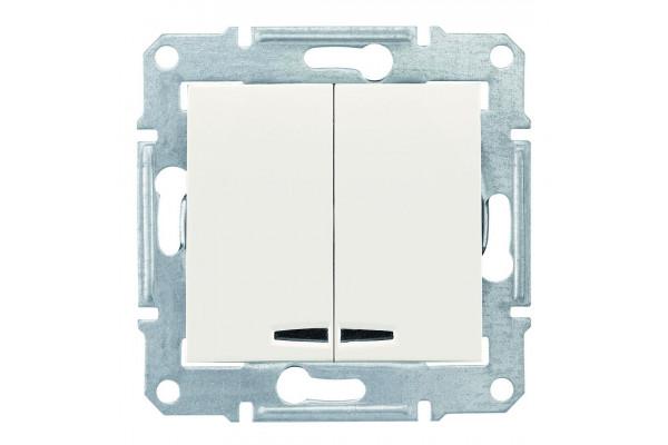 Двохклавішний вимикач з синьоюпідсвіткою 10А-250В, Слонова кістка, Sedna SDN0300323