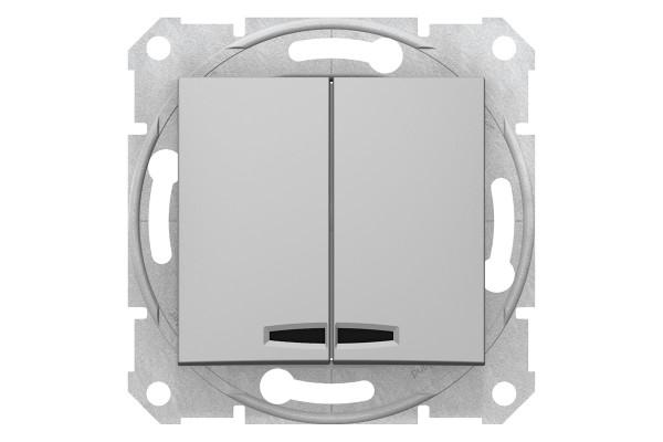 Двохклавішний вимикач з синьоюпідсвіткою 10А-250В, Алюміній, Sedna SDN0300360