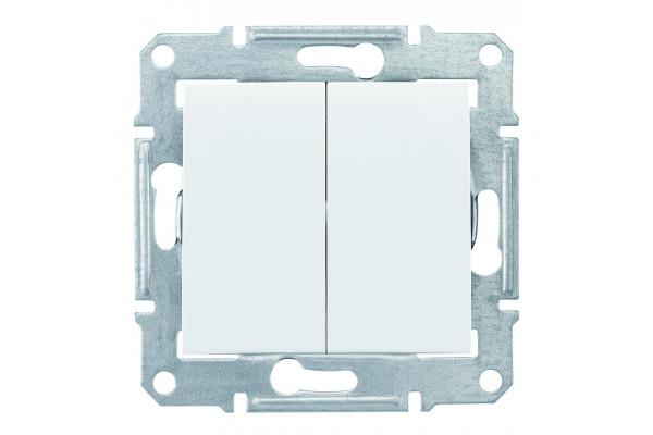 Двохклавішний вимикач 10А-250В, IP44, Білий, Sedna SDN0300421