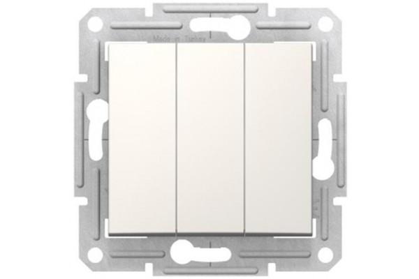 Трьохклавішний вимикач10А-250В, Слонова кістка, Sedna SDN0300623