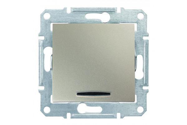 Одноклавішний перехресний перемикач з синьоюпідсвіткою 10А-250В Титан, Sedna SDN0501168
