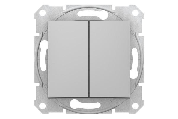 Двухклавішний перемикач10А-250В, Алюміній, Sedna SDN0600160
