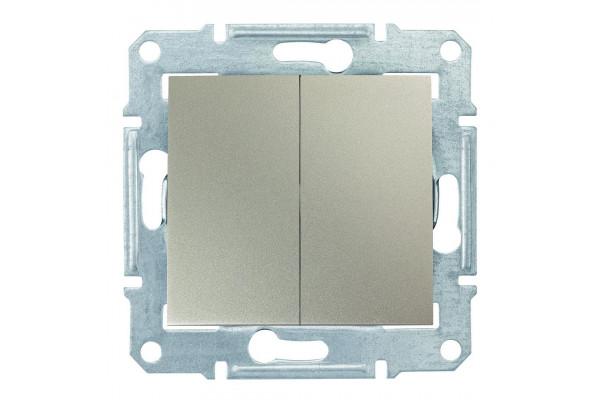 Двухклавішний перемикач10А-250В Титан, Sedna SDN0600168