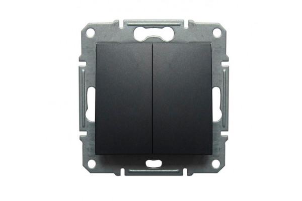 Двухклавішний перемикач10А-250В Графіт, Sedna SDN0600170