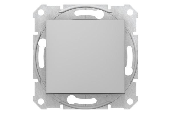 Одноклавішний кнопковий вимикач, Алюміній, Sedna SDN0700160