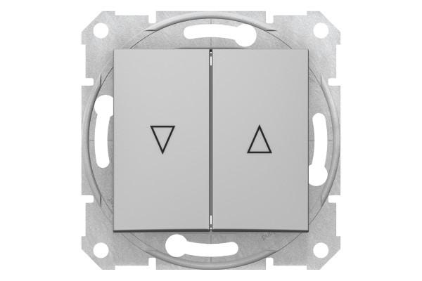 Вимикач для жалюзі з електричним блокуванням 10А-250В, Алюміній, Sedna SDN1300160