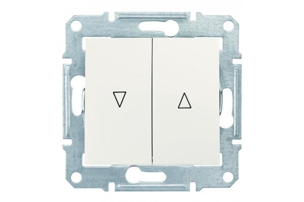 Вимикач для жалюзі з механічним блокуванням 10А-250В, Слонова кістка, Sedna SDN1300323