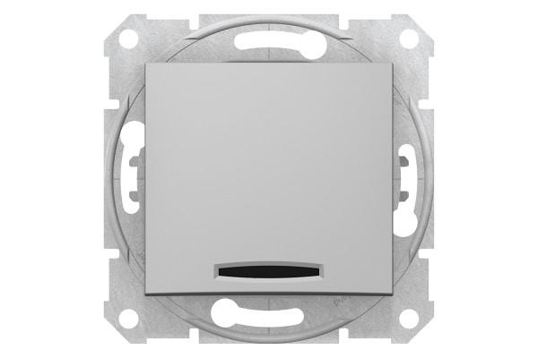 Одноклавішний перемикач з синьоюпідсвіткою 10А-250В, Алюміній, Sedna SDN1500160