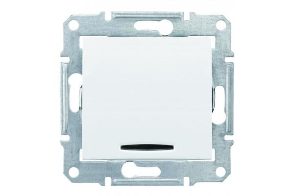 Одноклавішний кнопковий вимикач з синьоюпідсвіткою, Білий, Sedna SDN1600121