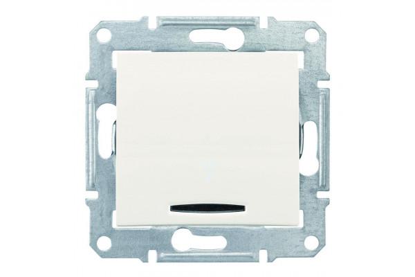 Одноклавішний кнопковий вимикач з синьоюпідсвіткою, Слонова кістка, Sedna SDN1600123