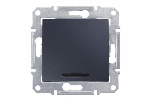 Одноклавішний кнопковий вимикач з синьоюпідсвіткою Графіт, Sedna SDN1600170