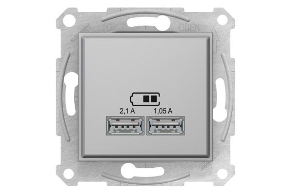 Розетка USB подвійна, Алюміній, Sedna SDN2710260