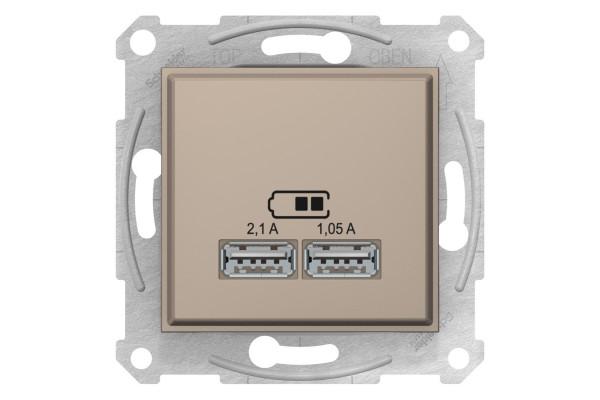 Розетка USB подвійна, Титан, Sedna SDN2710268