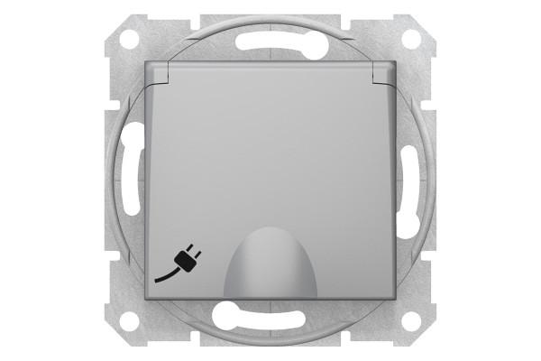 Розетка силоваіз заземленням16A - 250В з зах. шторками та кришкою, гвинтові, Алюміній, Sedna SDN3100160