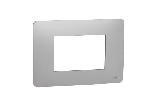Рамка 3-модульна, Алюміній, Schneider Unica NEW Studio NU210330