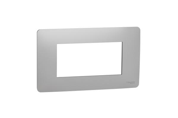 Рамка 4-модульна, Алюміній, Schneider Unica NEW Studio NU210430
