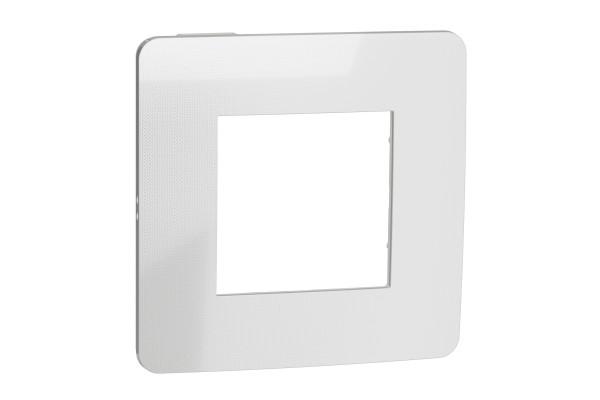 Рамка 1-постова, Хром/білий, Schneider Unica NEW Studio NU280255
