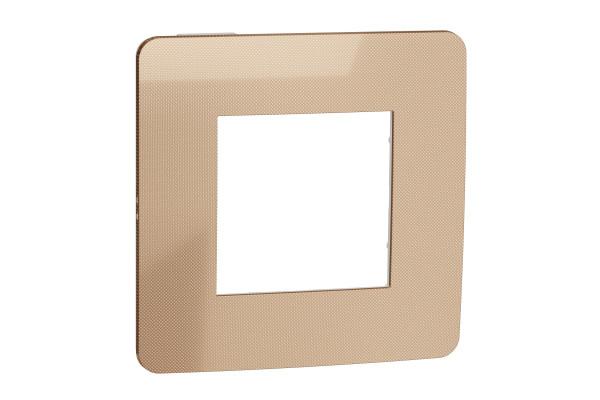 Рамка 1-постова, Мідь/білий, Schneider Unica NEW Studio NU280257