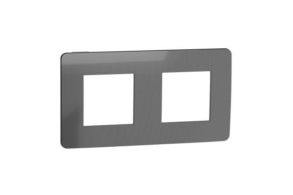 Рамка 2-постова, Нікель/антрацит, Schneider Unica NEW Studio NU280453