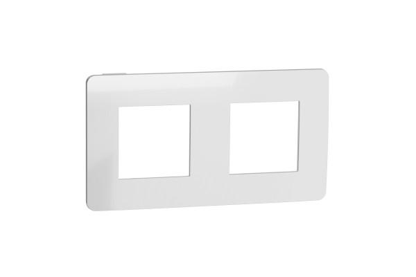 Рамка 2-постова, Хром/білий, Schneider Unica NEW Studio NU280455