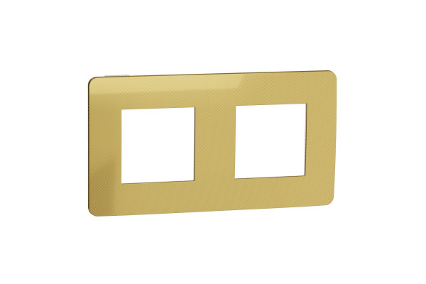 Рамка 2-постова, Золото/білий, Schneider Unica NEW Studio NU280459