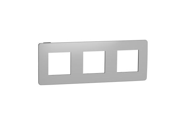 Рамка 3-постова, Хром/антрацит, Schneider Unica NEW Studio NU280656