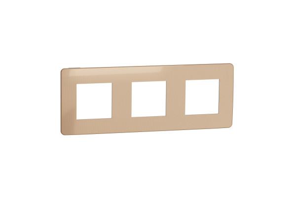 Рамка 3-постова, Мідь/білий, Schneider Unica NEW Studio NU280657