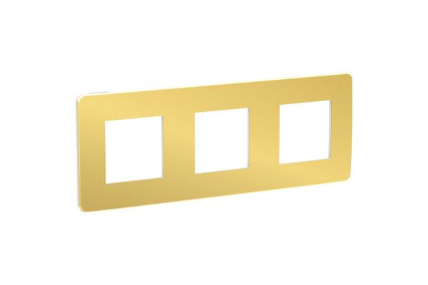 Рамка 3-постова, Золото/білий, Schneider Unica NEW Studio NU280659