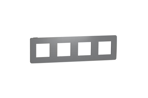 Рамка 4-постова, Димчато-сірий/антрацит, Schneider Unica NEW Studio NU280822