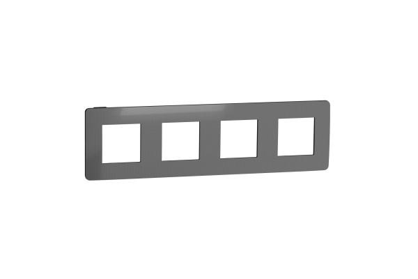 Рамка 4-постова, Нікель/антрацит, Schneider Unica NEW Studio NU280853