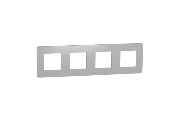 Рамка 4-постова, Хром/білий, Schneider Unica NEW Studio NU280855