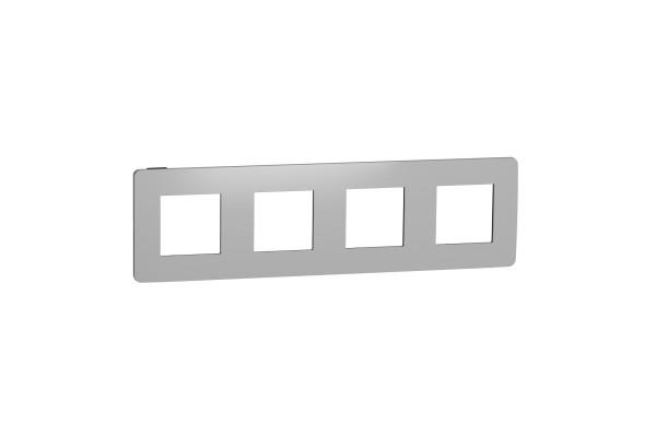 Рамка 4-постова, Хром/антрацит, Schneider Unica NEW Studio NU280856