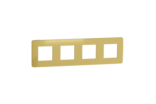 Рамка 4-постова, Золото/білий, Schneider Unica NEW Studio NU280859