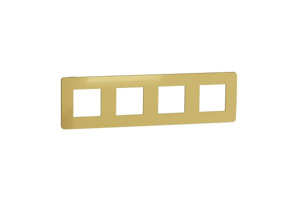 Рамка 4-постова, Золото/бежевий, Schneider Unica NEW Studio NU280860