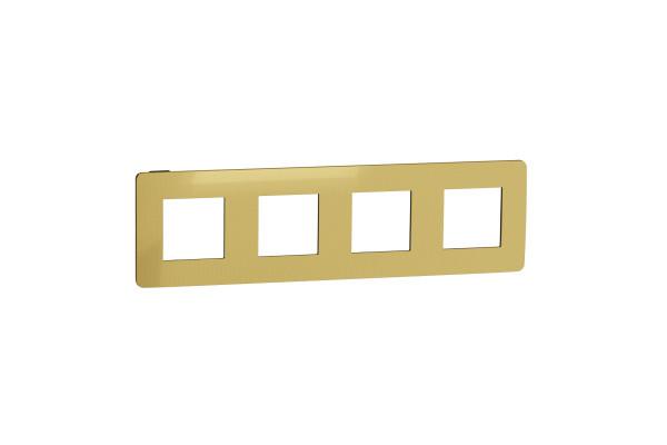 Рамка 4-постова, Золото/антрацит, Schneider Unica NEW Studio NU280862