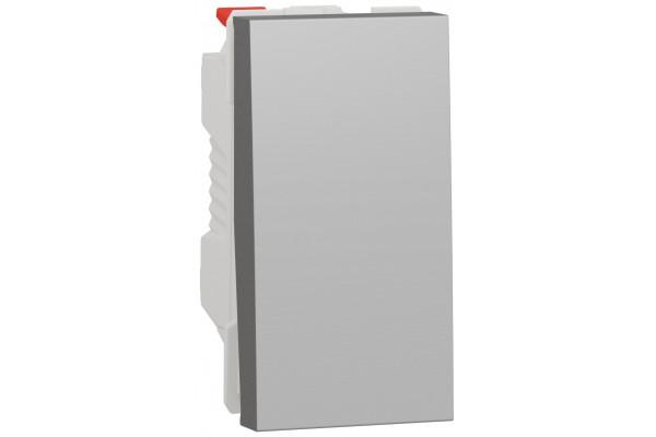 Перемикач 1-клавішний прохідний, 10А, 1 модуль, алюміній, Unica NEW NU310330