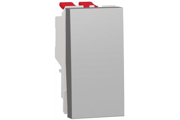 Перемикач 1-клавішний перехресний, 10А, 1 модуль, алюміній, Unica NEW NU310530