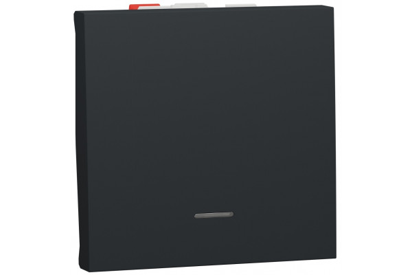 Перемикач 1-клавішний прохідний з підсвіткою, 10А, 2 модуля, антрацит, Unica NEW NU320354S