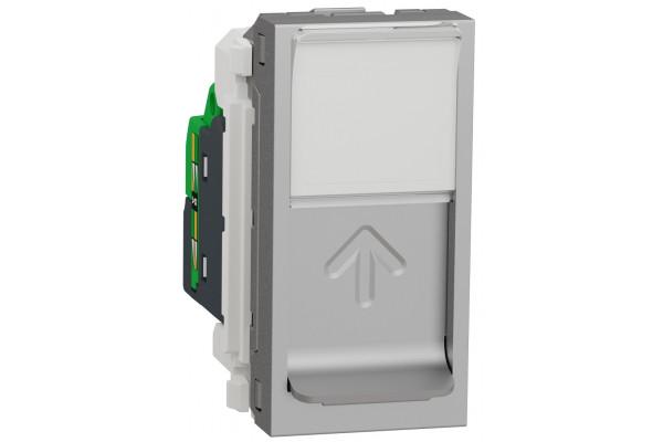 Розетка комп'ютерна RJ45, одинарна, кат.5e UTP, 1 модуль, алюміній, Unica NEW NU341030
