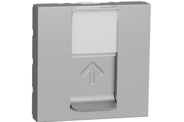 Розетка комп'ютерна RJ45, одинарна, кат.5e UTP, 2 модуля, алюміній, Unica NEW NU341130