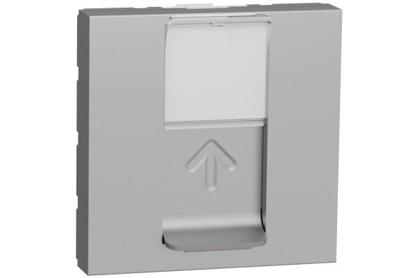 Розетка комп'ютерна RJ45, одинарна, кат.6 STP, 2 модуля, алюміній, Unica NEW NU341730