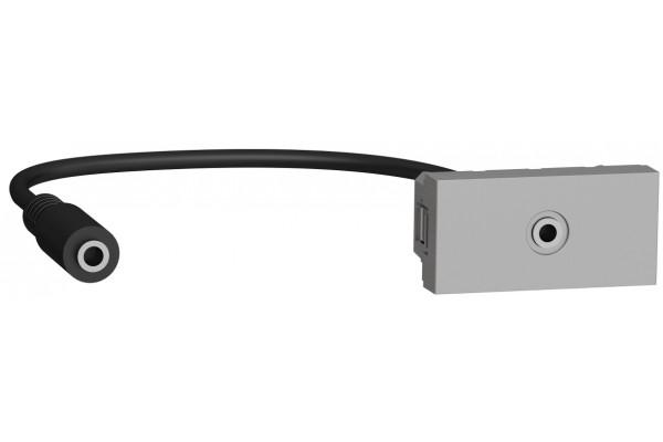 Розетка Minijack 1 модуль, алюміній, Unica NEW NU343330